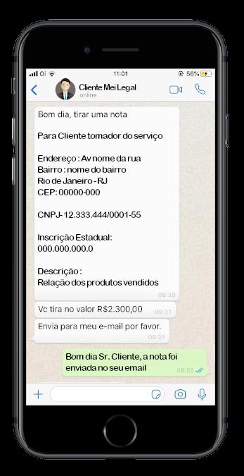 Atendimento via WhatsApp  - MEI Legal - Contabilidade online para Microempreendedor Individual MEI com emissão de nota fiscal carioca